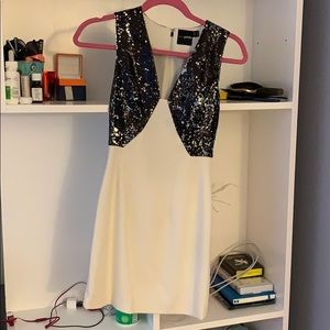 ASOS petite black and white party dress